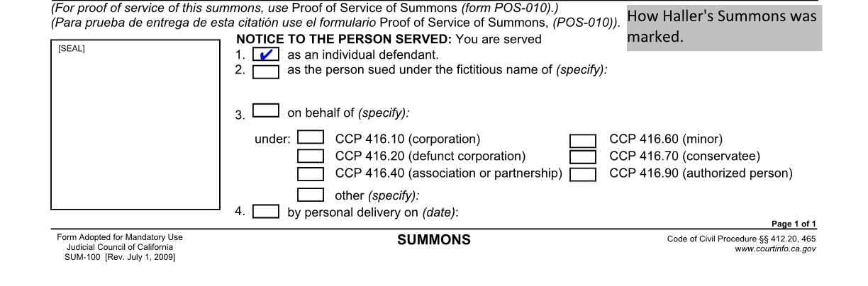 Summary \u2013 Carol Gilbert, Inc v Haller \u2013 Process Server Institute - Civil Summons Form