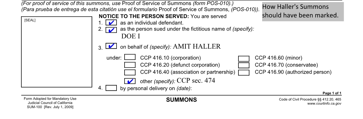 Summary \u2013 Carol Gilbert, Inc v Haller \u2013 Process Server Institute - Civil Summons Form