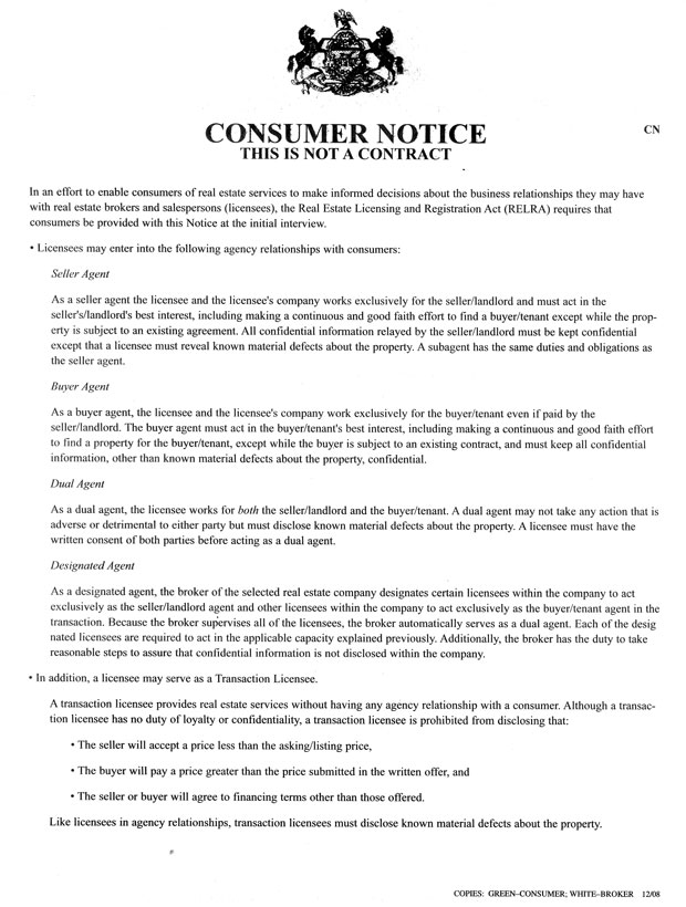 Patricia A Skiba Realty, Consumer Notice Form - consumer form