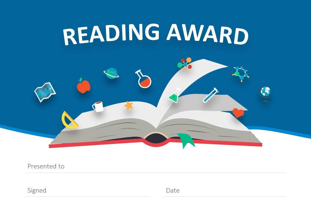 Reading Award Certificate for PowerPoint - Pslides