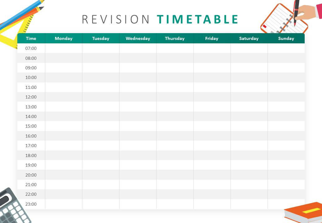Revision Timetable PowerPoint Template - Pslides