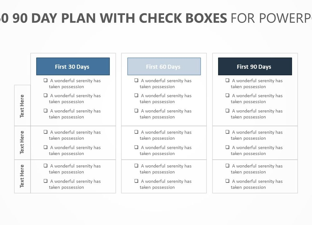 30 60 90 Day Plan with Check boxes (1) PSlides