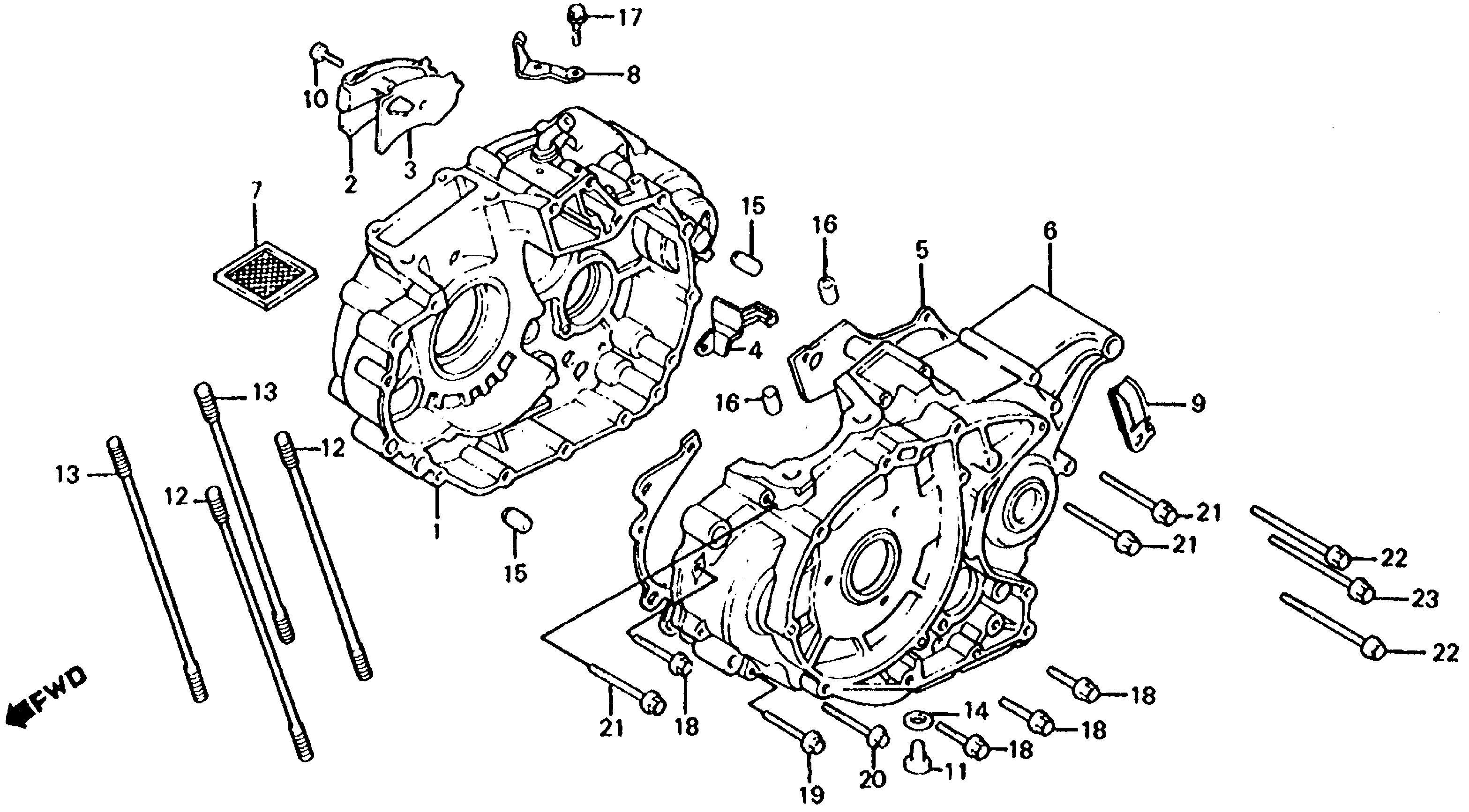 diagram of honda atv parts 1992 trx250x an crankcase diagram