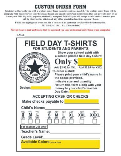 Field Day T-Shirts by Patricia\u0027s Spiritwear - Field Day T-Shirts - t shirt order forms