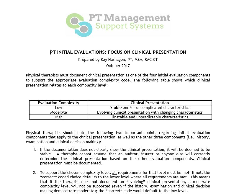PT INITIAL EVALUATIONS Physical Therapy Continuing EducationPT - physical therapy evaluation