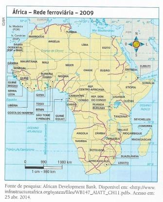 7 Analise o mapa das ferrovias na África e, com baseem uma pesquisa