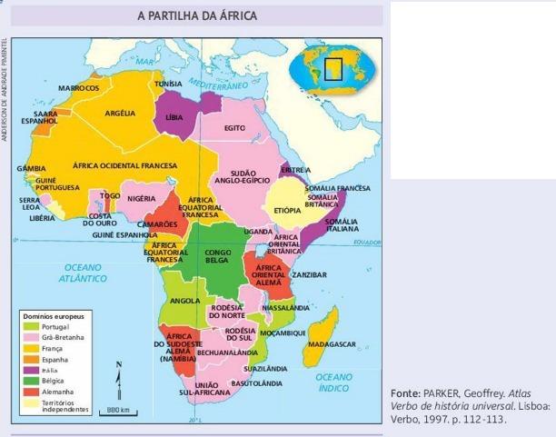 De acordo com o mapa, qual naçào europeia possuía o maior número de