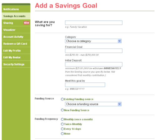 SmartyPig Savings Goal Setup