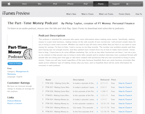 Part-Time Money Podcast in iTunes
