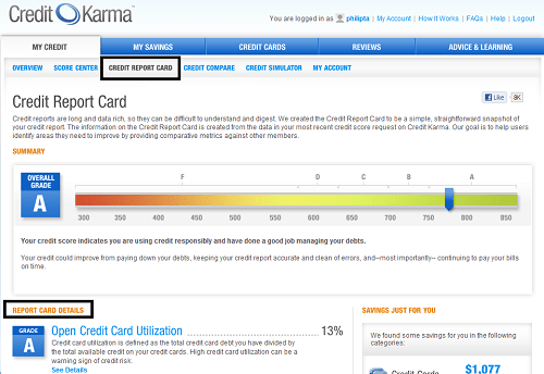 Credit Karma Credit Report Card