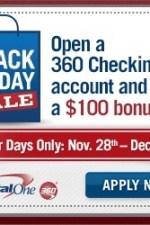 Capital One 360 Black Friday Savings Spree – $100 Promotion