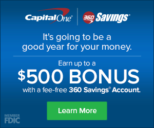 Capital One 360 Bonus – Up to $500 for New Savings Accounts!