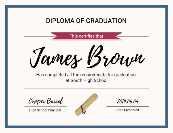 Online Diploma Of Graduation Certificate Template Fotor Design Maker
