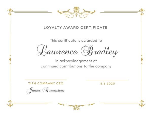 Online Loyalty Award Certificate Template Fotor Design Maker
