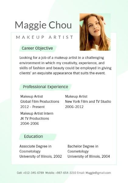 Online Makeup Artist Resume Template Fotor Design Maker