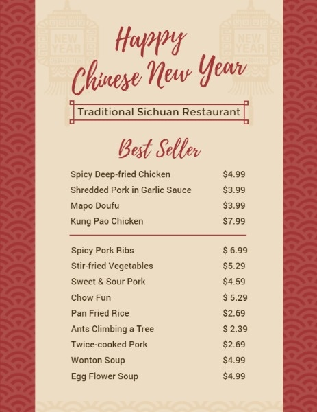 Online Chinese New Year Menu Menu Template Fotor Design Maker