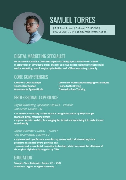 Online Digital Marketing Specialist Resume Template Fotor Design Maker