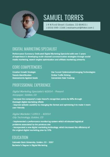 marketing specialist resume template