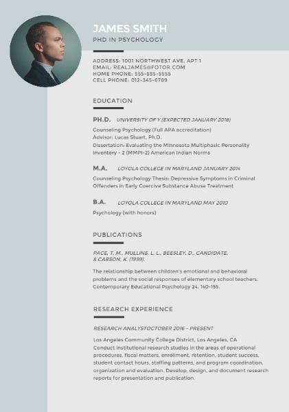 Online Phd In Psychology Resume Template Fotor Design Maker