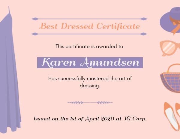 Online Best Dressed Certificate Certificate Template Fotor Design