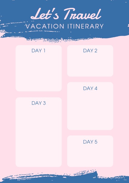 Online Vacation Itinerary Planner Template Fotor Design Maker