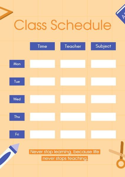 Online Class Schedule Planner Template Fotor Design Maker