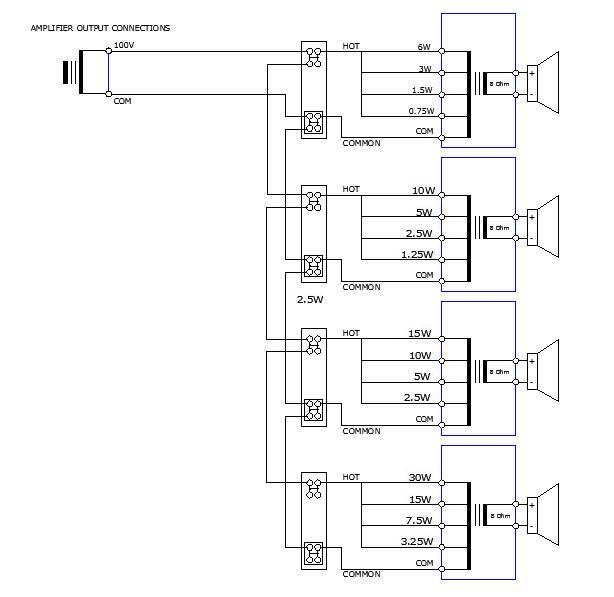 bogen 70v speaker wiring diagram