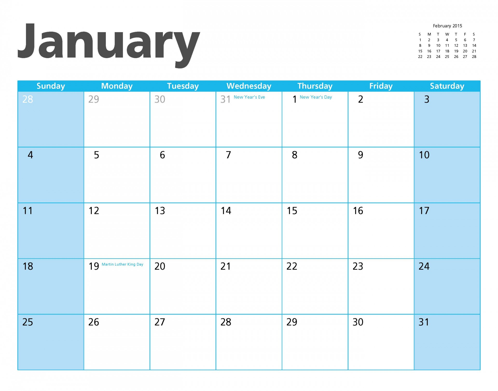 january calender page