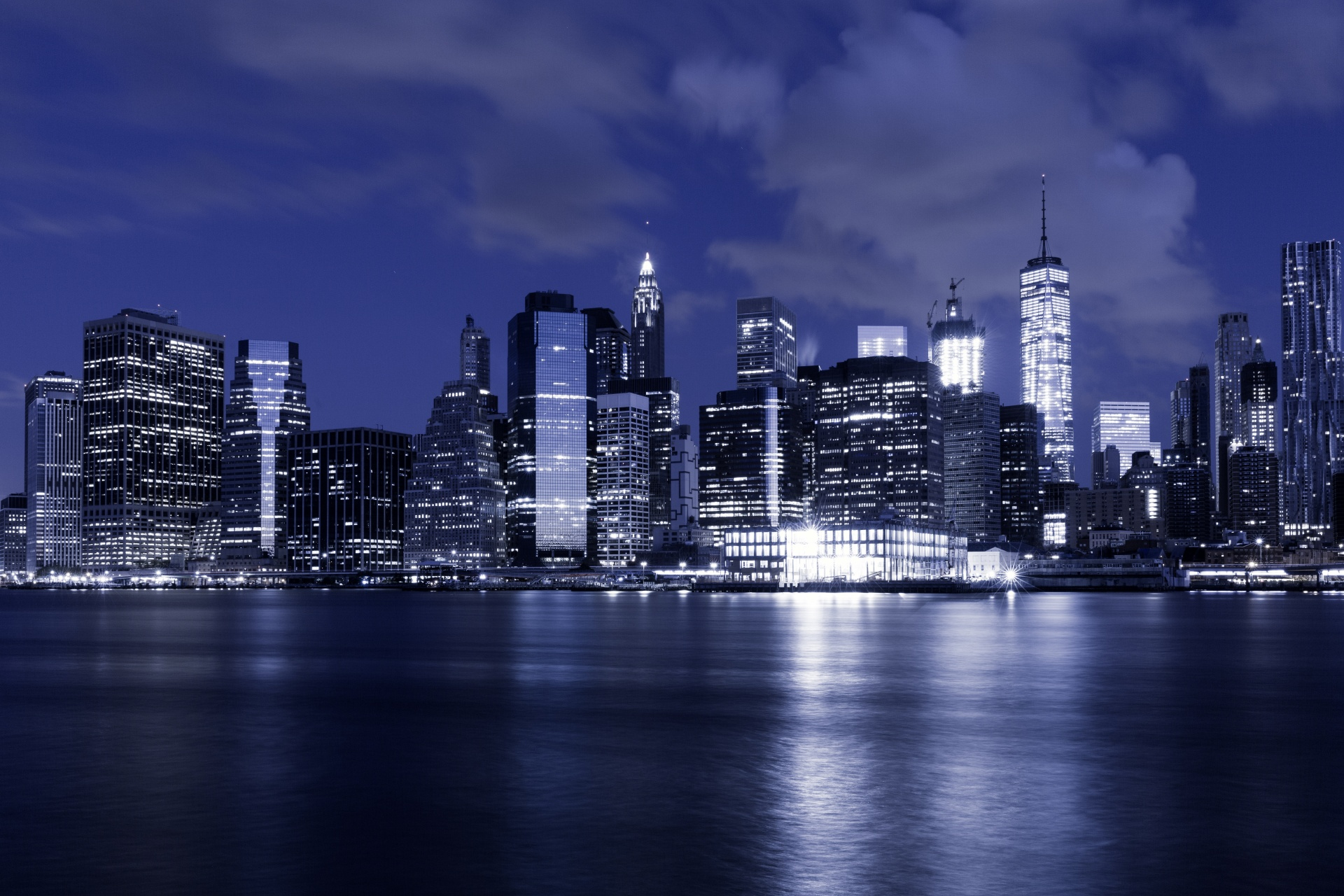 Bild New York Skyline New York Skyline At Night Free Stock Photo Public Domain