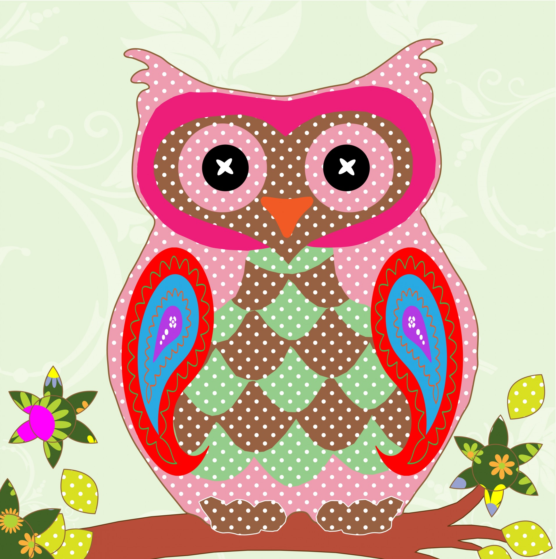 Colorful Pictures Of Owls Owl Colorful Patchwork Art Free Stock Photo Public