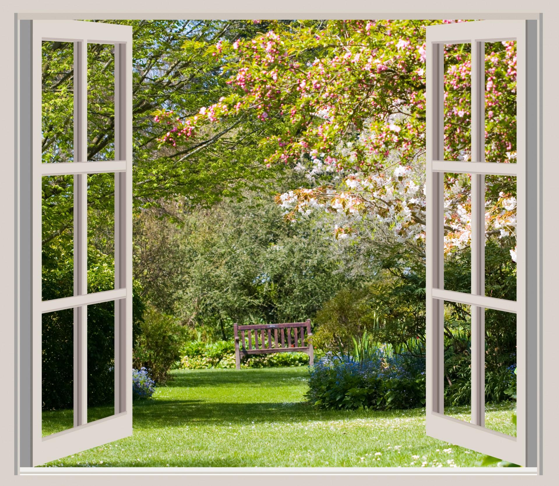 Spring Garden Window Frame View Free Stock Photo