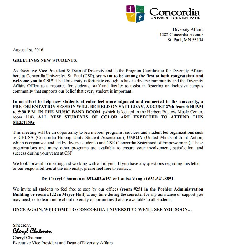 Welcome letter about diversity sparks backlash at Concordia