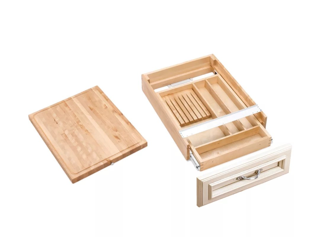 Cutting Board With Knife Holder Rev A Shelf 4kcb 21 Natural Wood 4kcb Series Combination