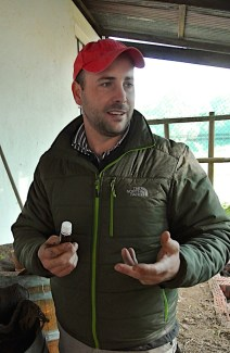 Christiaan with a biodynamic preparation