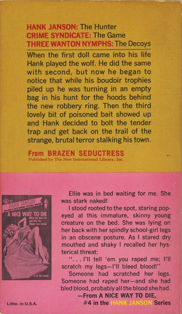 Gold Star Books IL7-13 - Hank Janson - Brazen Seductress (back)