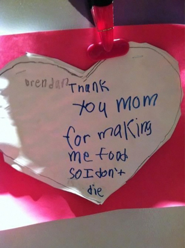 this kid thanking mom for the little things