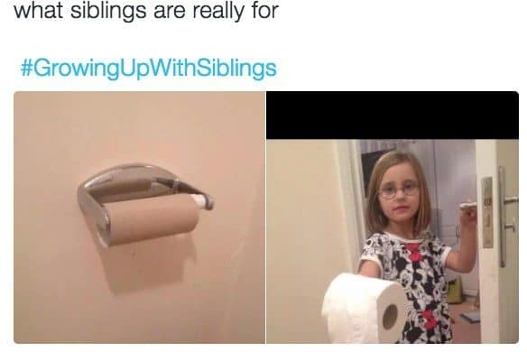 When having a sibling turns out to be really, really handy.