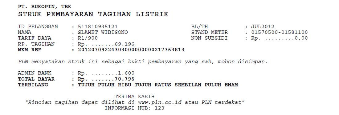 Contoh Rekening Listrik Ppob Pt Arindo Pratama Arindonet Info Pln 123 Atau Klik Link Pln Telkom 147 Atau Klik Link Telkom
