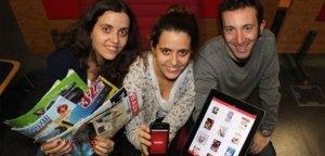 De izquierda a derecha los creadores de Tiendeo: Eva Martín, María Martín y Jonathan Lemberger.
