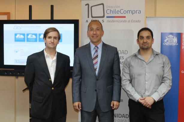 Roberto Pinedo, Director de ChileCompra; Rafael Ariztía, Coordinador de la Unidad de Modernización y Gobierno Digital; y Andrés Bustamante, Director de Gobierno Digital.