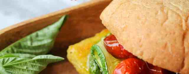Polenta Veggie Burgers with Pesto & Veggies {vegan, gluten free} // pumpkinandpeanutbutter.com