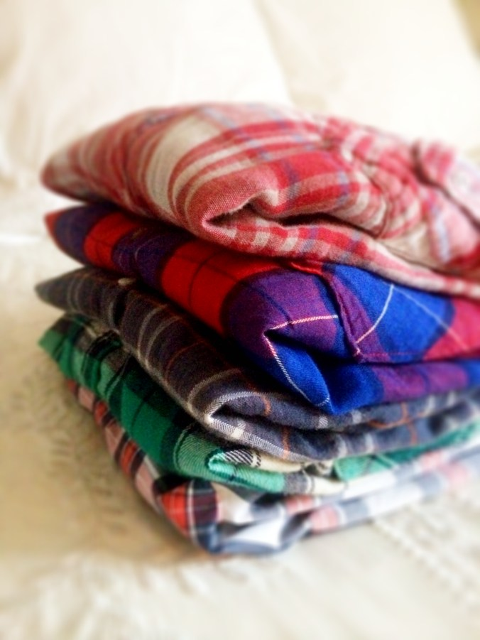 plaid pile side view