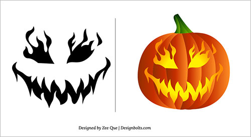 Easy Pumpkin carving patterns Free Printable for Halloween 2018