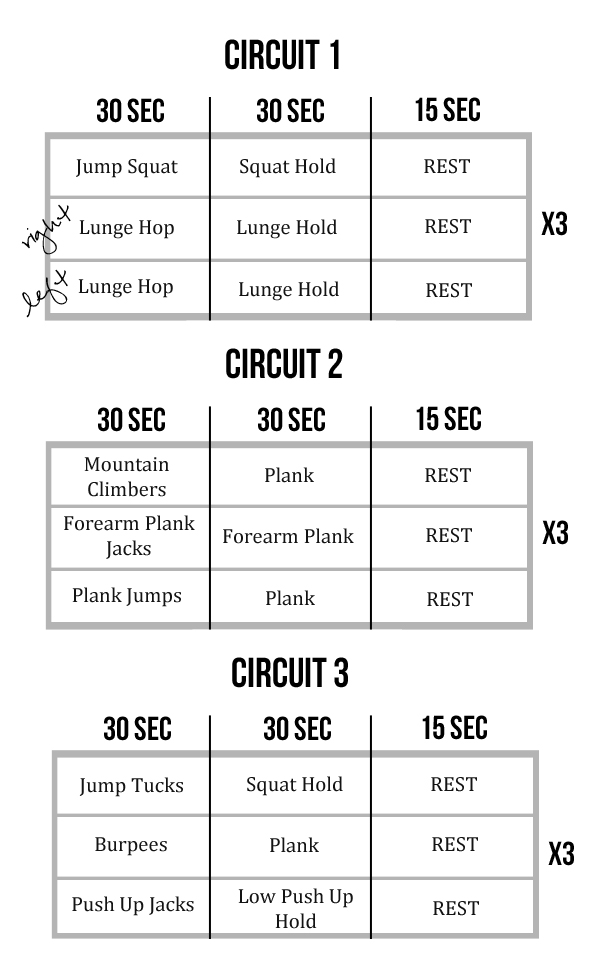 At-Home Interval Circuit Workout (Dynamic Movement + Isometric Holds