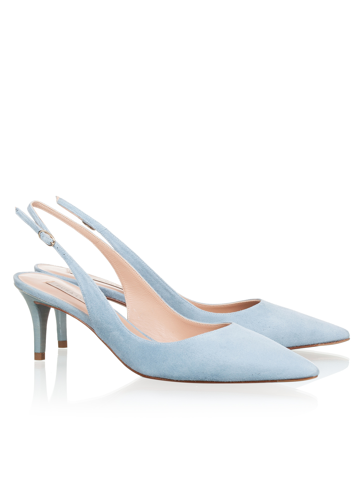 Zapatos Salon Azules Online Slingback Mid Heel Pumps In Blue Suede Online Store Pura