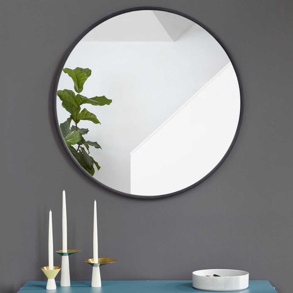 Wc Deco Grand Miroir Rond : Grand Miroir Noir Design Hub Par Umbra