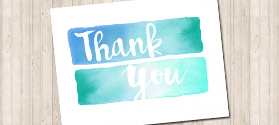 Water Color Folded Thank You Card - Pure Design Graphics