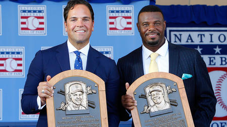 Ken Griffey Jr. and Mike Piazza in the Hall of Fame