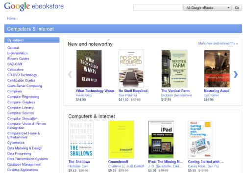 Google eBookstore page