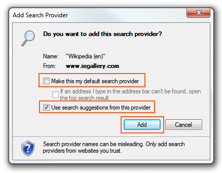 Internet Explorer 9 - Search Provider options